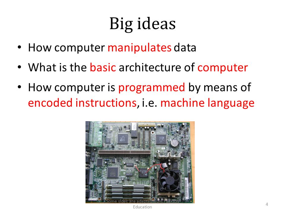 Computer Architecture Bus CPU RAM Keyboard Hard Disk Display CD-ROM 15 Some sldes are adapted from Pearson Education