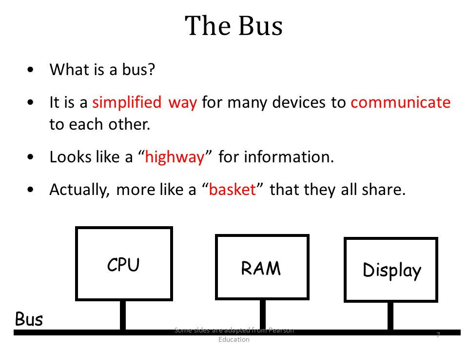 Communicating with Other Devices (continued) Direct memory access (DMA): Controller access main memory directly over the bus Von Neumann Bottleneck: Insufficient bus speed impedes performance – CPU and controller compete the bus Handshaking: The process of coordinating the transfer of data between components – Computer and device exchange information about the device's status and coordinate their activities 48 Some sldes are adapted from Pearson Education