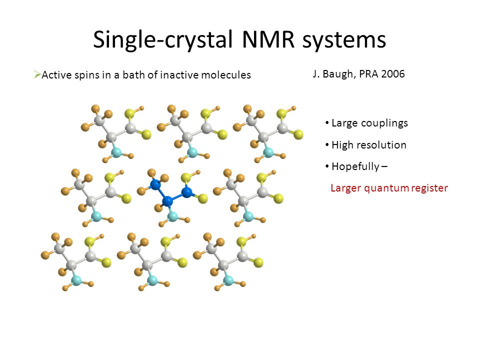 Single-crystal NMR systems  Active spins in a bath of inactive molecules Large couplings High resolution Hopefully – Larger quantum register J.