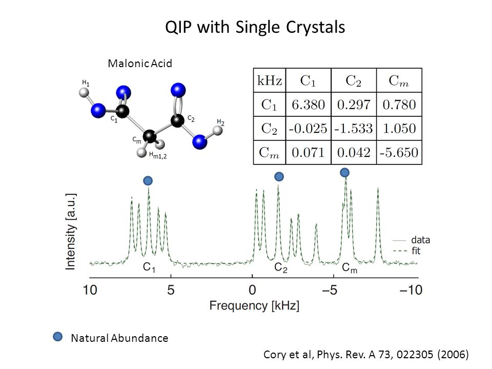 Malonic Acid QIP with Single Crystals Cory et al, Phys. Rev. A 73, 022305 (2006) Natural Abundance