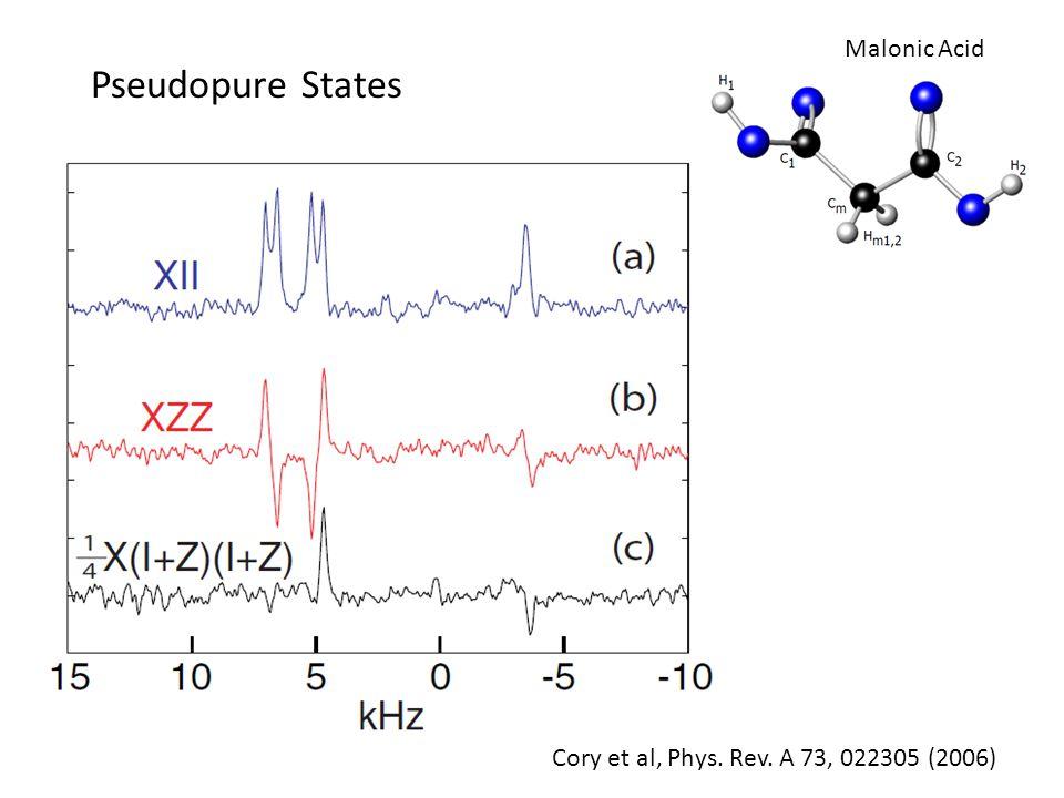 Pseudopure States Malonic Acid Cory et al, Phys. Rev. A 73, 022305 (2006)