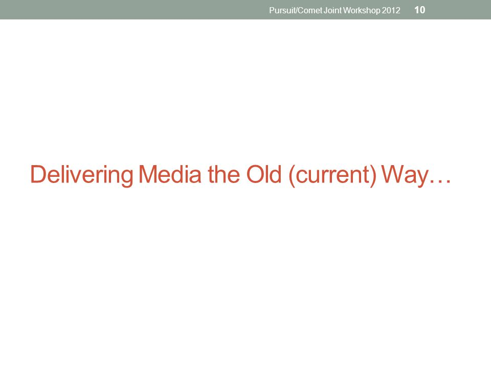 Delivering Media the Old (current) Way… Pursuit/Comet Joint Workshop 2012 10