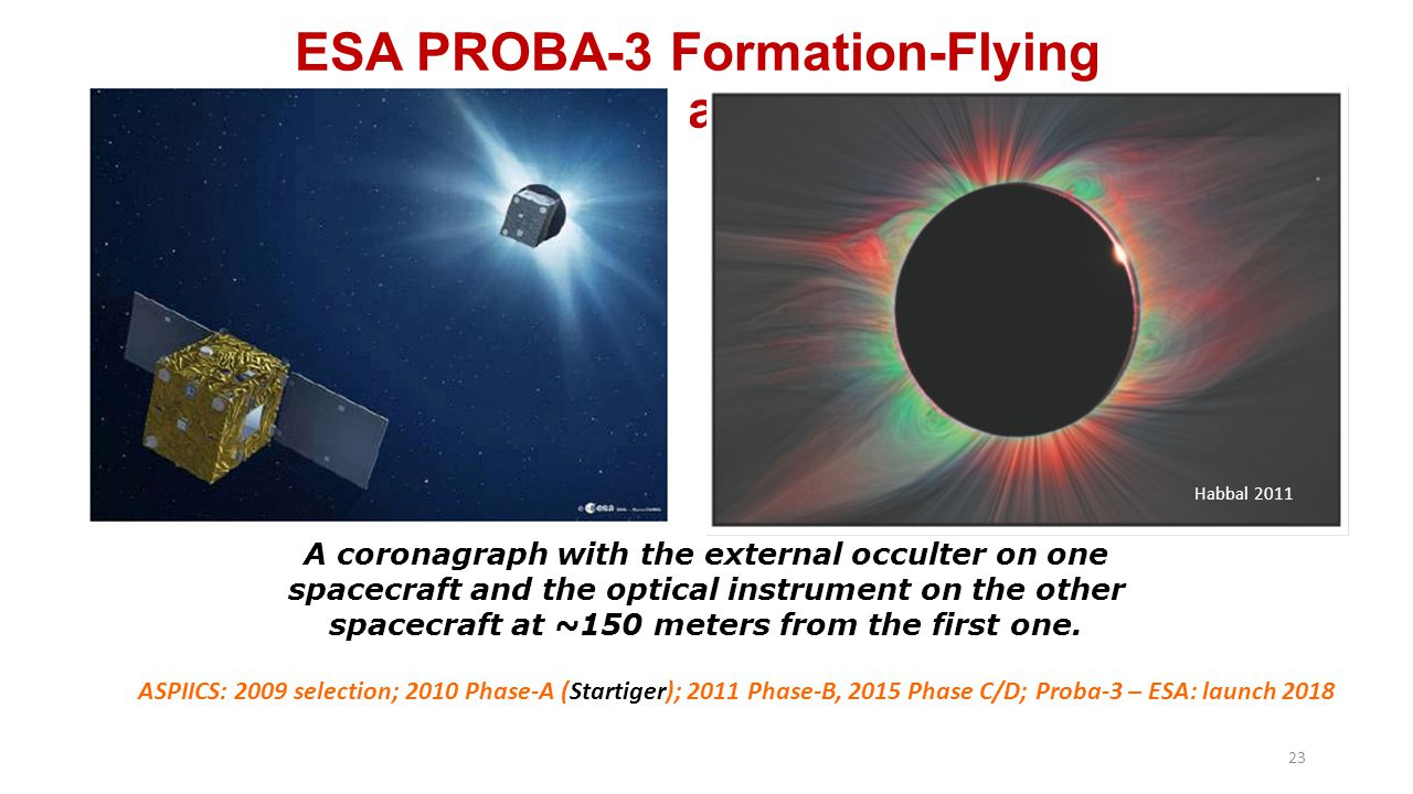 ESA PROBA-3 Formation-Flying Coronagraph A coronagraph with the external occulter on one spacecraft and the optical instrument on the other spacecraft