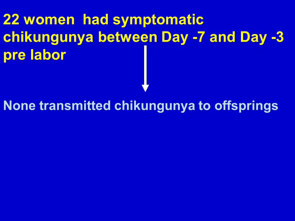 678 women had Chikungunya antepartum (onset >7 days before labor) 16 fetal deaths and 687 viable neonates 3 of 7 fetal deaths before Week 22 were due to chikungunya None of 9 fetal deaths after Week 22 were due to chikungunya None of 687 viable neonates were infected