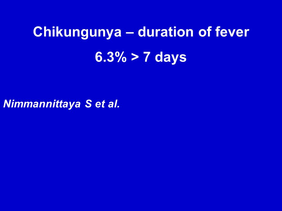 Chikungunya: When Incubation period = 2-3 d(range = 1-12 d)