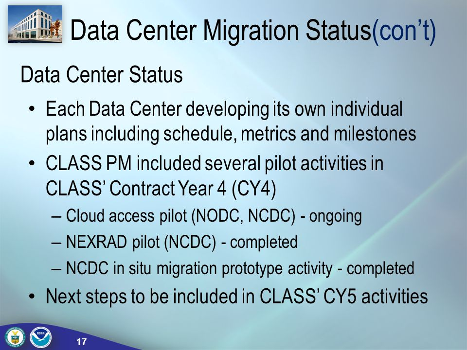 Data Center Status Each Data Center developing its own individual plans including schedule, metrics and milestones CLASS PM included several pilot act