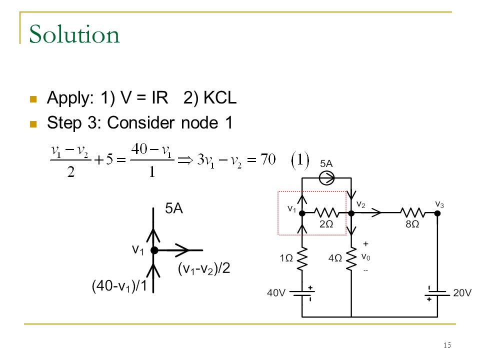 15 Solution Apply: 1) V = IR 2) KCL Step 3: Consider node 1