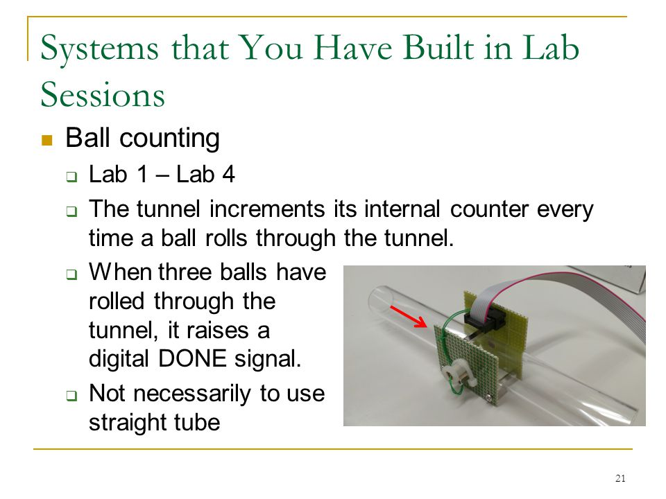Systems that You Have Built in Lab Sessions 21 Ball counting  Lab 1 – Lab 4  The tunnel increments its internal counter every time a ball rolls through the tunnel.
