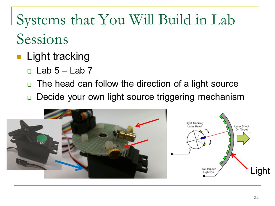 Systems that You Will Build in Lab Sessions Light tracking  Lab 5 – Lab 7  The head can follow the direction of a light source  Decide your own light source triggering mechanism 22 Light