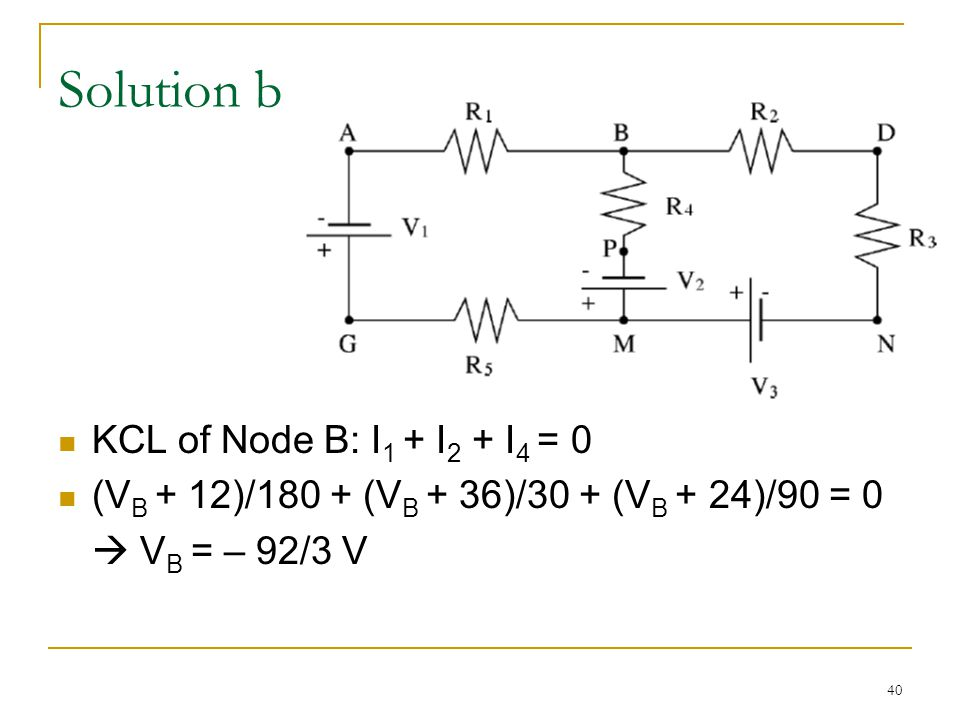 40 Solution b KCL of Node B: I 1 + I 2 + I 4 = 0 (V B + 12)/180 + (V B + 36)/30 + (V B + 24)/90 = 0  V B = – 92/3 V
