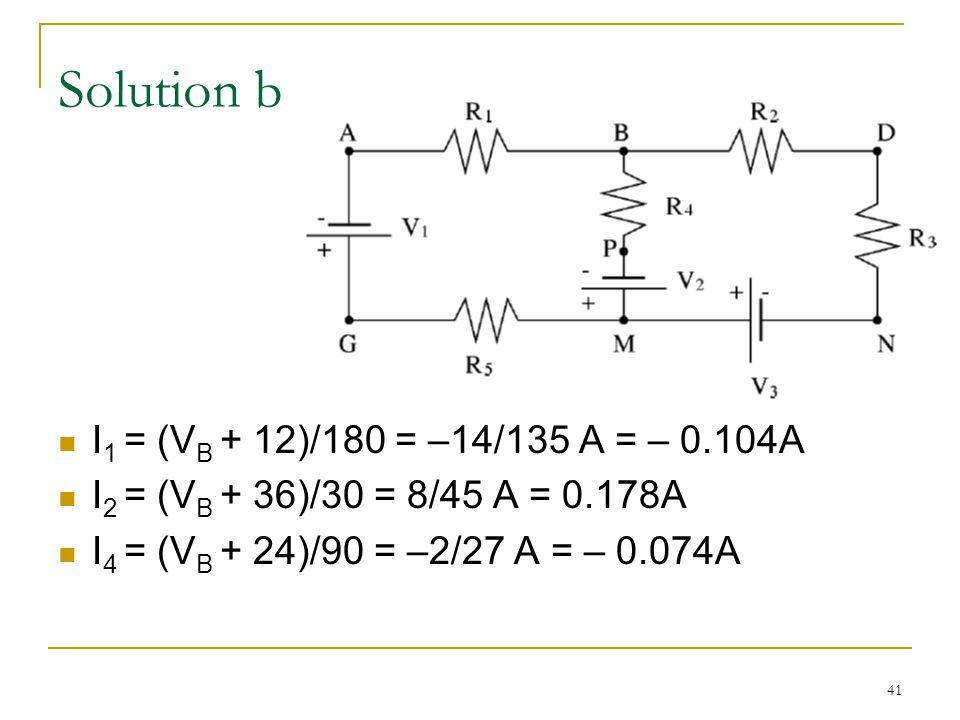 41 Solution b I 1 = (V B + 12)/180 = –14/135 A = – 0.104A I 2 = (V B + 36)/30 = 8/45 A = 0.178A I 4 = (V B + 24)/90 = –2/27 A = – 0.074A
