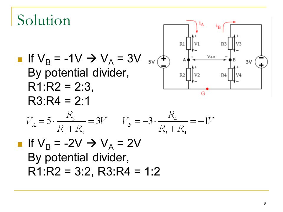 9 Solution If V B = -1V  V A = 3V By potential divider, R1:R2 = 2:3, R3:R4 = 2:1 If V B = -2V  V A = 2V By potential divider, R1:R2 = 3:2, R3:R4 = 1:2