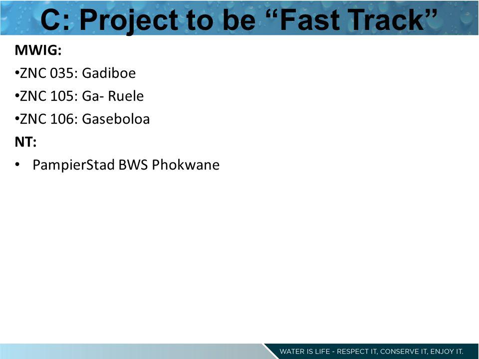 C: Project to be Fast Track MWIG: ZNC 035: Gadiboe ZNC 105: Ga- Ruele ZNC 106: Gaseboloa NT: PampierStad BWS Phokwane