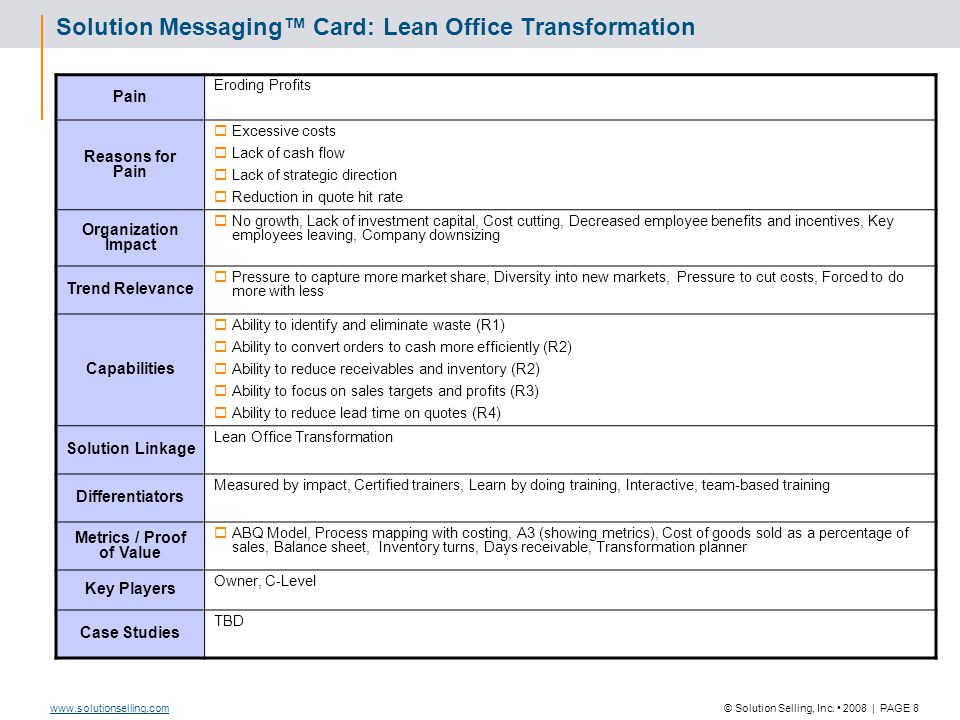© Solution Selling, Inc. 2008   PAGE 8www.solutionselling.com Solution Messaging™ Card: Lean Office Transformation Pain Eroding Profits Reasons for Pa