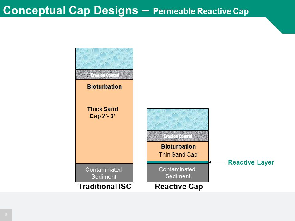5 Reactive Layer Conceptual Cap Designs – Permeable Reactive Cap Thin Sand Cap Contaminated Sediment Reactive Cap Bioturbation Erosion Control Thick Sand Cap 2'- 3' Bioturbation Erosion Control Contaminated Sediment Traditional ISC