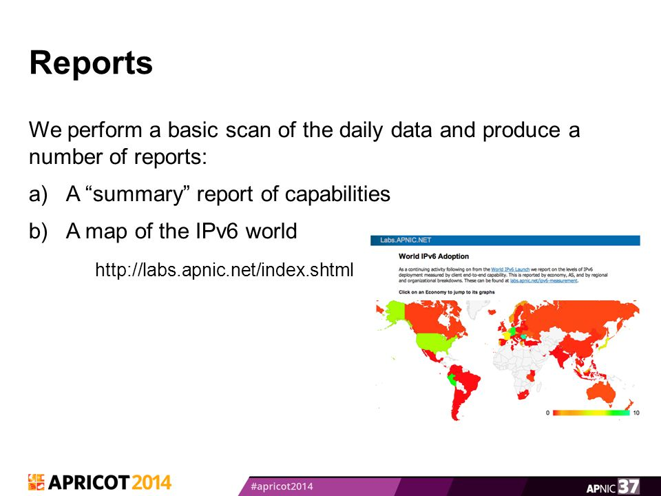 Reports We perform a basic scan of the daily data and produce a number of reports: a)A summary report of capabilities b)A map of the IPv6 world http://labs.apnic.net/index.shtml