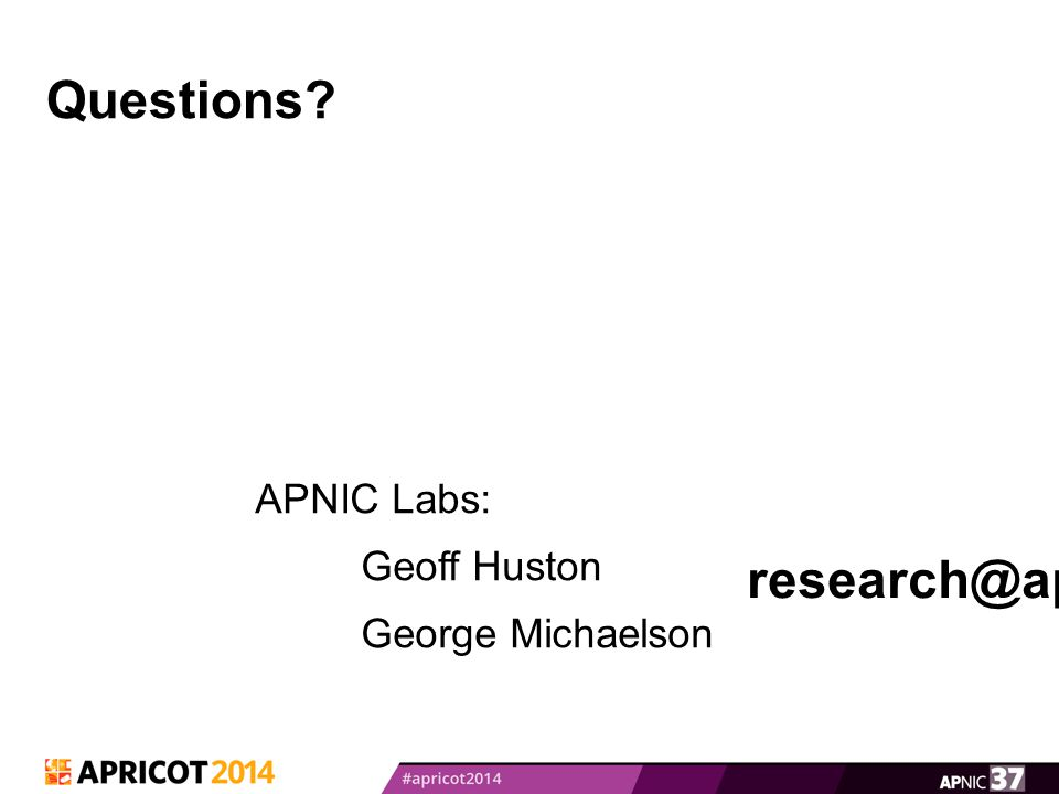 Questions APNIC Labs: Geoff Huston George Michaelson research@apnic.net