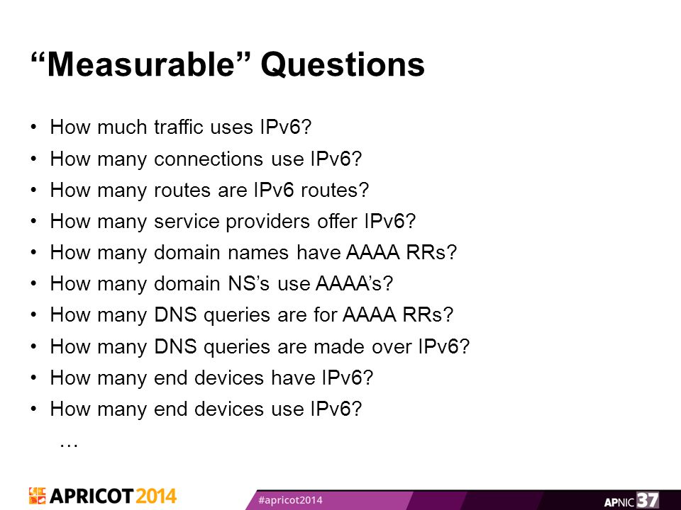 Measurable Questions How much traffic uses IPv6.