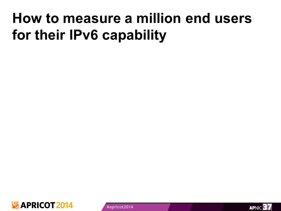 How to measure a million end users for their IPv6 capability
