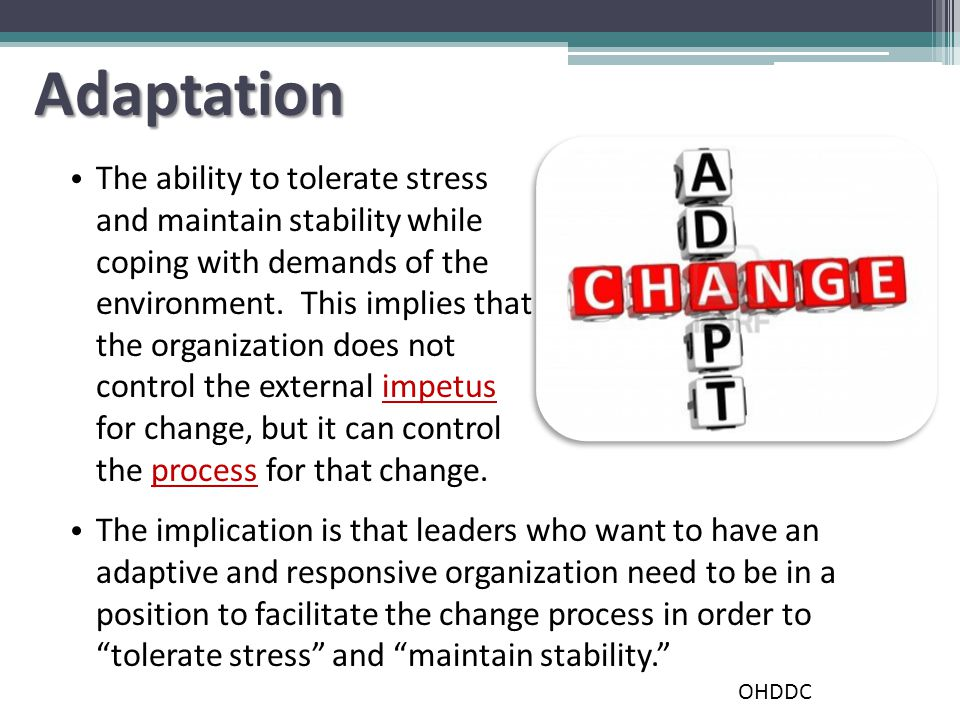 Adaptation The ability to tolerate stress and maintain stability while coping with demands of the environment.