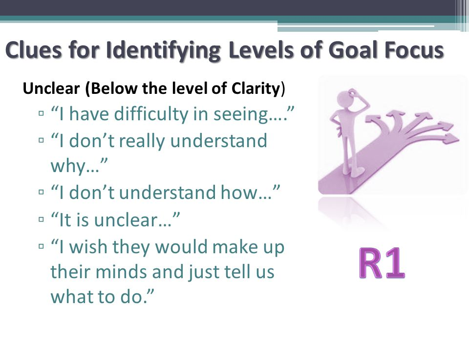 Clues for Identifying Levels of Goal Focus Unclear (Below the level of Clarity) ▫ I have difficulty in seeing…. ▫ I don't really understand why… ▫ I don't understand how… ▫ It is unclear… ▫ I wish they would make up their minds and just tell us what to do.