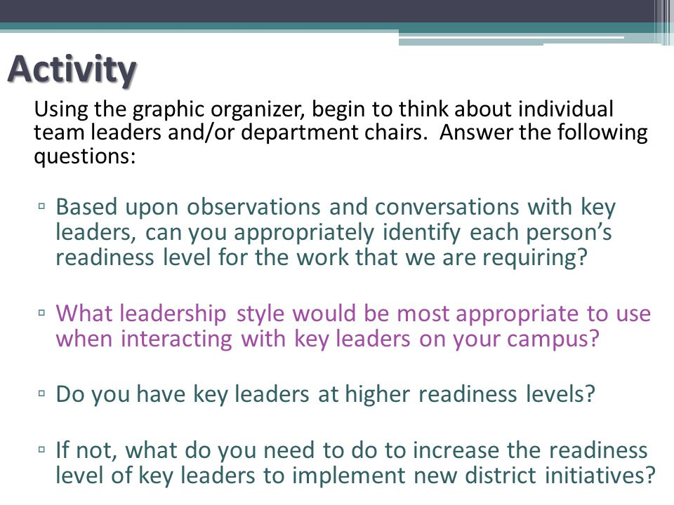 Activity Using the graphic organizer, begin to think about individual team leaders and/or department chairs.