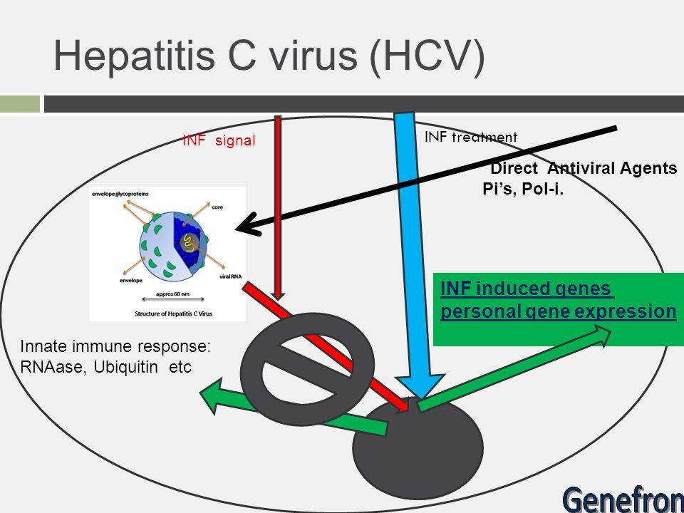 Innate immune response: RNAase, Ubiquitin etc Direct Antiviral Agents Pi's, Pol-i. INF signal INF induced genes personal gene expression Hepatitis C v