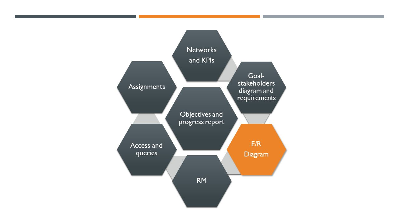 Objectives and progress report Networks and KPIs Goal- stakeholders diagram and requirements E/R Diagram RM Access and queries Assignments