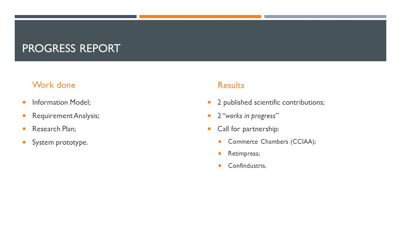 PROGRESS REPORT Work done  Information Model;  Requirement Analysis;  Research Plan;  System prototype.
