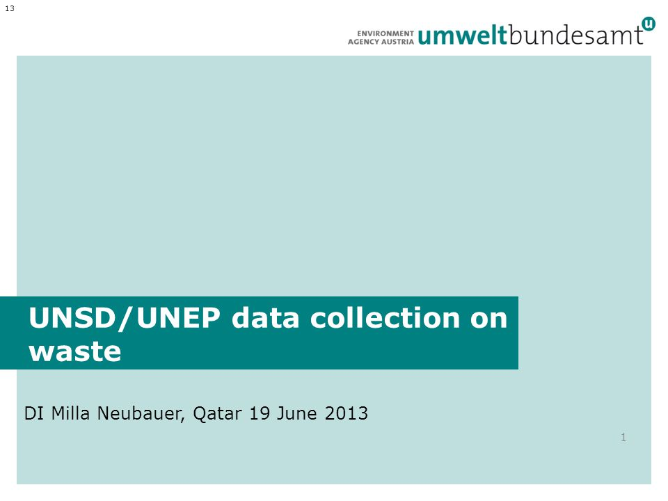 UNSD/UNEP data collection on waste DI Milla Neubauer, Qatar 19 June