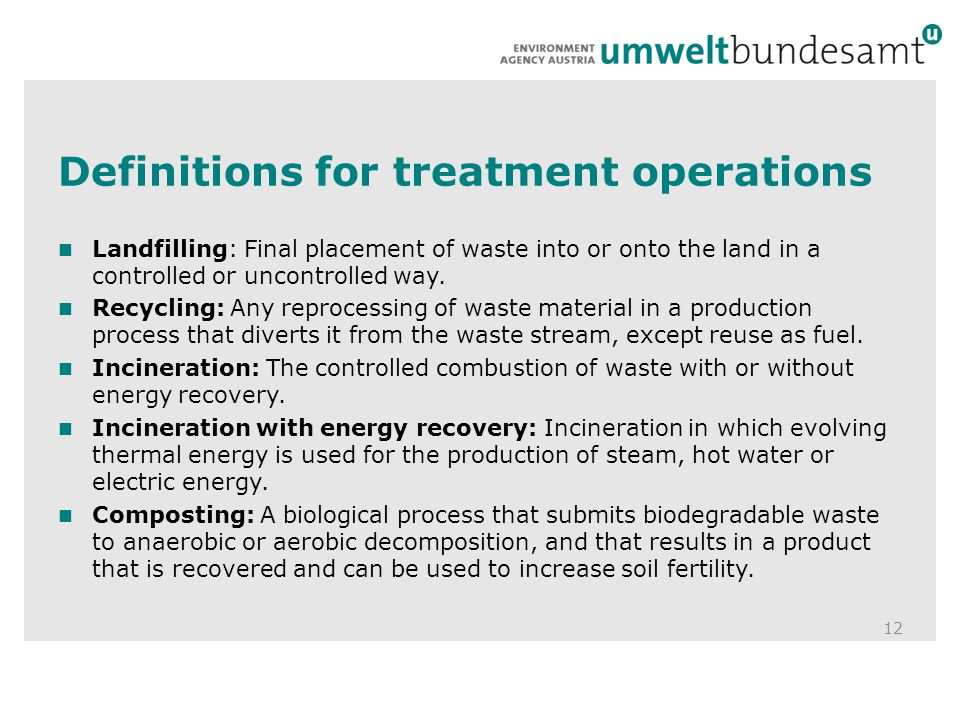 Definitions for treatment operations 12 Landfilling: Final placement of waste into or onto the land in a controlled or uncontrolled way.