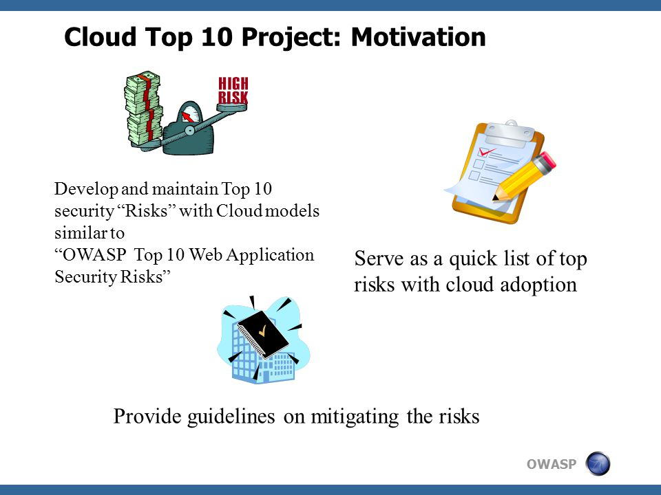 OWASP Cloud Top 10 Project: Approach NIST CSA News/ Research Publications Industry Experience Gartner OWASP Cloud Top 10 OWASP Cloud Top 10 Most Damaging Incidence Frequency Easily Executable Most Damaging Incidence Frequency Easily Executable IDC ISC2