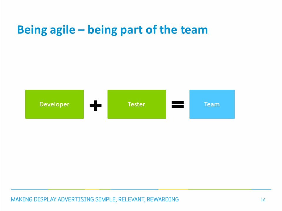 Being agile – being part of the team 16 DeveloperTesterTeam