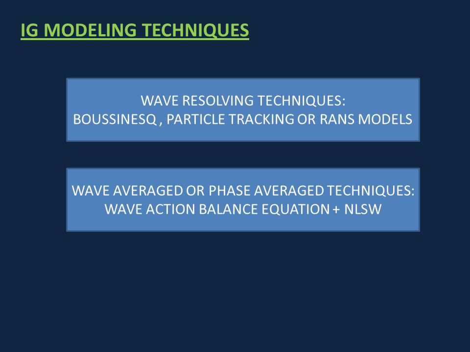 IG MODELING TECHNIQUES WAVE RESOLVING TECHNIQUES: BOUSSINESQ, PARTICLE TRACKING OR RANS MODELS WAVE AVERAGED OR PHASE AVERAGED TECHNIQUES: WAVE ACTION