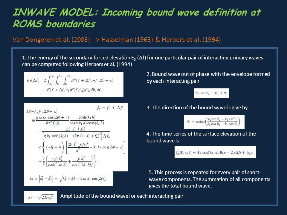 INWAVE MODEL: Incoming bound wave definition at ROMS boundaries Van Dongeren et al. (2003) -> Hasselman (1963) & Herbers et al. (1994) 1. The energy o