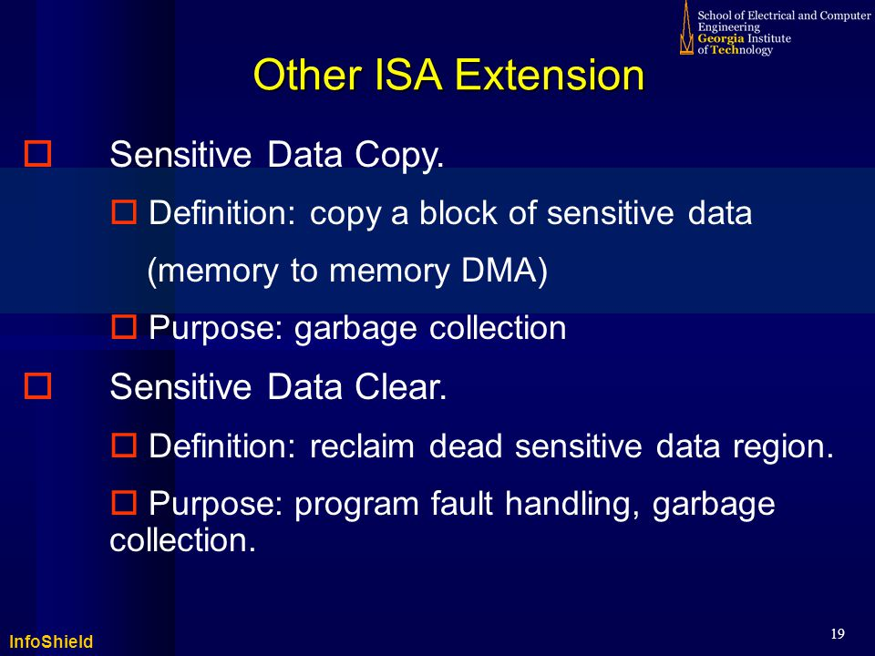 InfoShield 19 Other ISA Extension  Sensitive Data Copy.