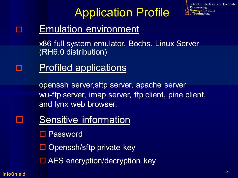 InfoShield 21 Application Profile  Emulation environment x86 full system emulator, Bochs.