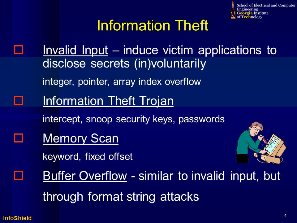 InfoShield 5 Against Information Theft – Prior Art  Ad-hoc Solutions  Approaches: boundary checking, model checking, stack guard, etc.