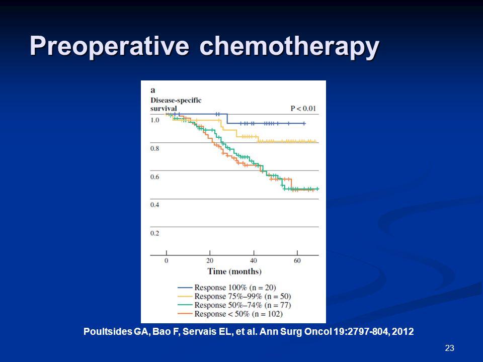 Preoperative chemotherapy 23 Poultsides GA, Bao F, Servais EL, et al.