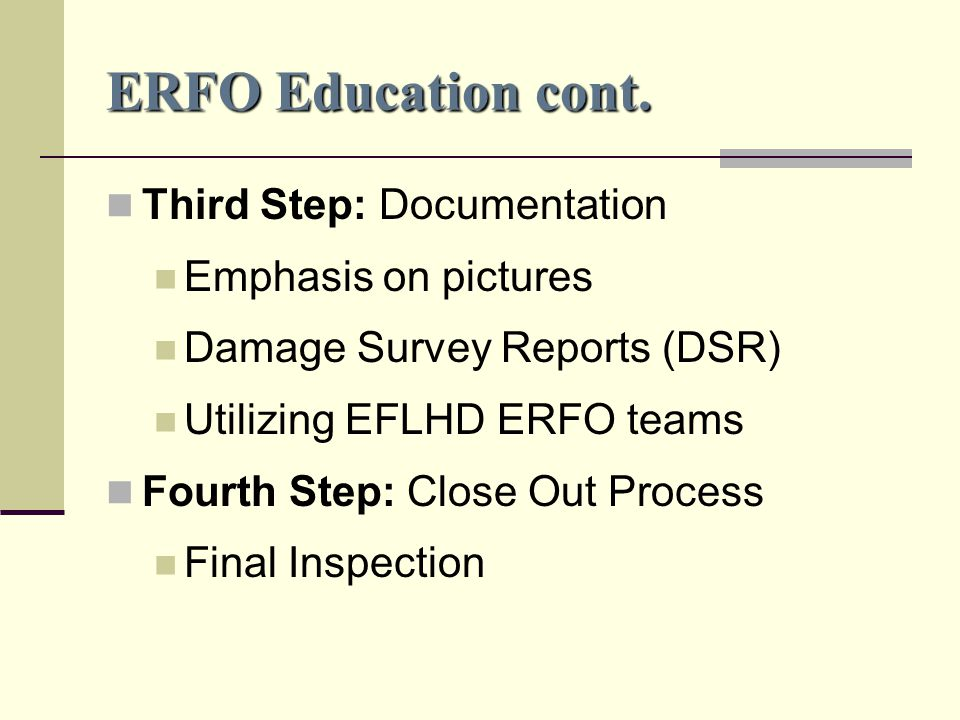 ERFO Education cont.