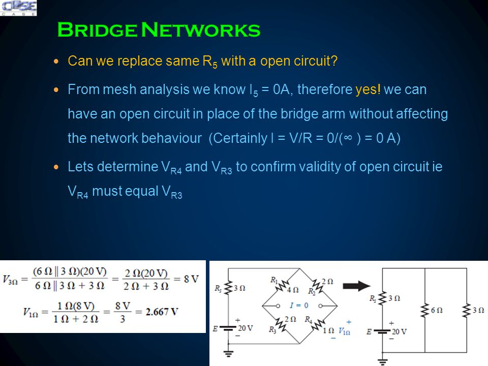 The bridge network is said to be balanced when the condition of I = 0 A or V = 0 V exists Lets derive relationship for bridge network meeting condition I = 0 and V = 0