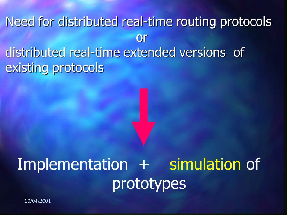 10/04/2001 Need for distributed real-time routing protocols or distributed real-time extended versions of existing protocols Implementation + simulation of prototypes