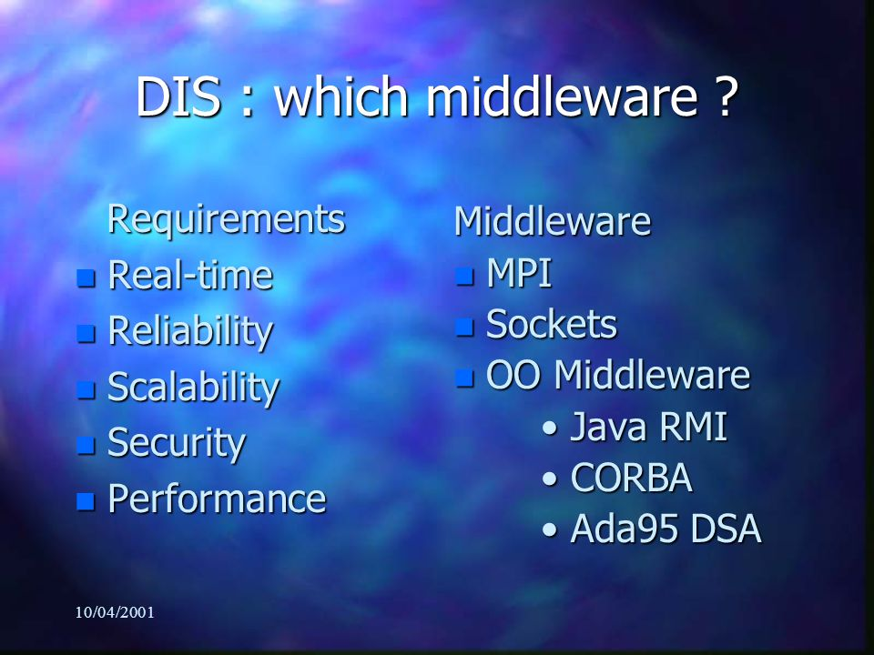 10/04/2001 DIS : which middleware .