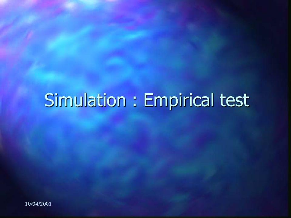 10/04/2001 Simulation : Empirical test