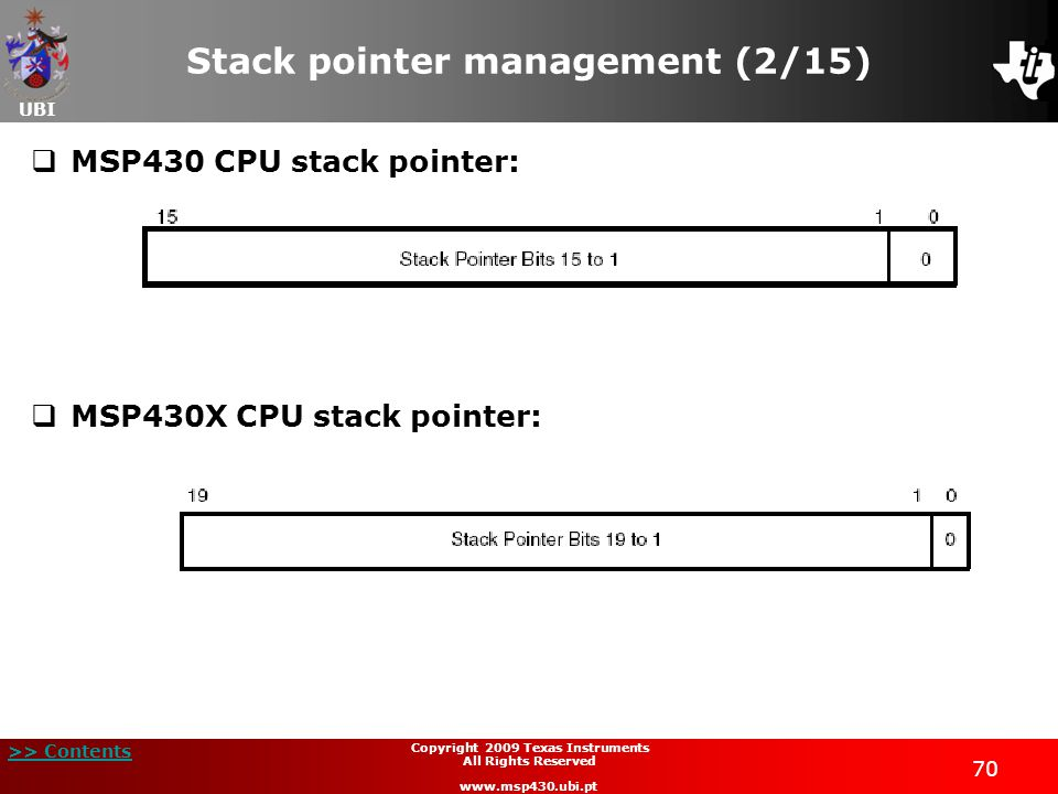 UBI >> Contents 70 Copyright 2009 Texas Instruments All Rights Reserved www.msp430.ubi.pt Stack pointer management (2/15)  MSP430 CPU stack pointer:  MSP430X CPU stack pointer: