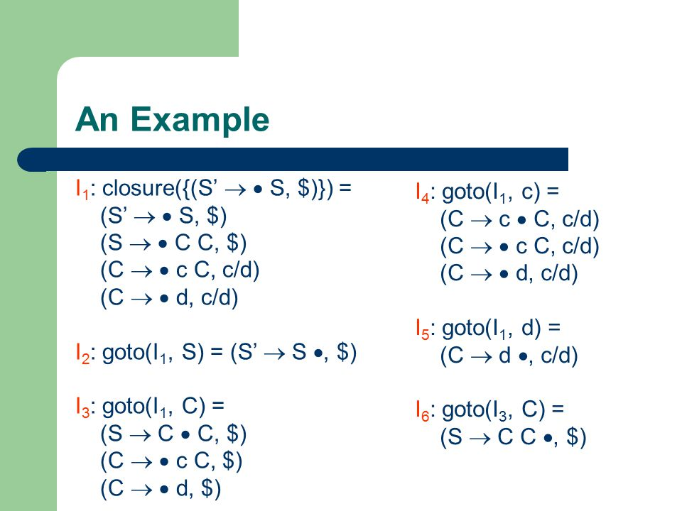 An Example I 1 : closure({(S'   S, $)}) = (S'   S, $) (S   C C, $) (C   c C, c/d) (C   d, c/d) I 2 : goto(I 1, S) = (S'  S , $) I 3 : goto