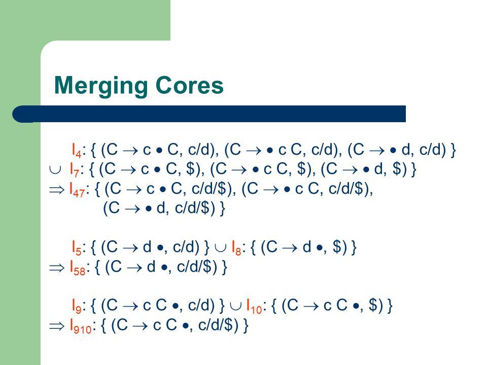 Merging Cores I 4 : { (C  c  C, c/d), (C   c C, c/d), (C   d, c/d) }  I 7 : { (C  c  C, $), (C   c C, $), (C   d, $) }  I 47 : { (C  c