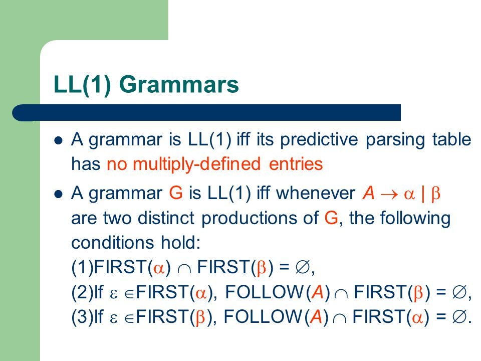 LL(1) Grammars A grammar is LL(1) iff its predictive parsing table has no multiply-defined entries A grammar G is LL(1) iff whenever A   |  are two distinct productions of G, the following conditions hold: (1)FIRST(  )  FIRST(  ) = , (2)If   FIRST(  ), FOLLOW(A)  FIRST(  ) = , (3)If   FIRST(  ), FOLLOW(A)  FIRST(  ) = .