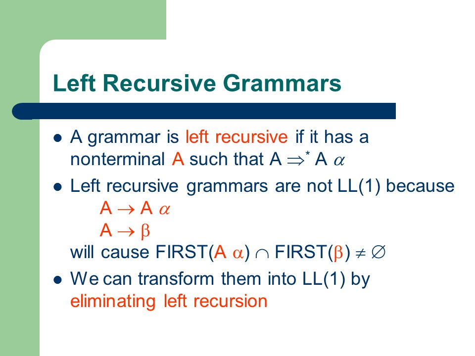 Left Recursive Grammars A grammar is left recursive if it has a nonterminal A such that A  * A  Left recursive grammars are not LL(1) because A  A  A   will cause FIRST(A  )  FIRST(  )   We can transform them into LL(1) by eliminating left recursion