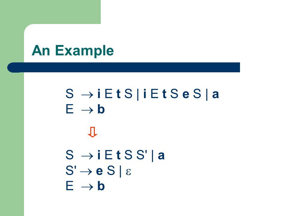 An Example S  i E t S | i E t S e S | a E  b S  i E t S S' | a S'  e S |  E  b